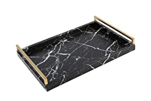 WV Faux Leather Serving Tray Marble Finish with Brushed Ti-Gold Stainless Steel Handle (Black)