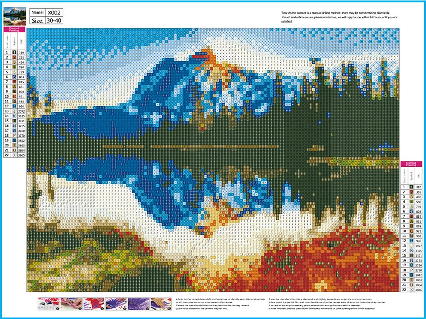LIK 5D Diamond Painting Full Drill Snow Mountains and Rivers Landscape by Number Kits for Adults 16X12inch Rhinestone Painting Set Embroidery Art Craft Home Decoration Landscape Series
