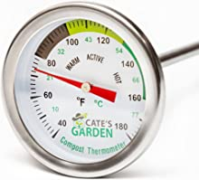 Cate's Garden Compost Thermometer Premium Stainless Steel Bimetal Thermometer for Backyard Composting - 2 Inch Diameter Fahrenheit/Celsius Dial, 20 Inch Temperature Probe