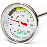 Compost Thermometer - Cate's Garden Premium Stainless Steel Bimetal Thermometer for Backyard Composting - 2 Inch…