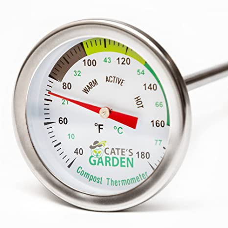 Stainless Steel Soil Thermometer by 127mm Stem Easy-to-Read 29mm Dial Display...