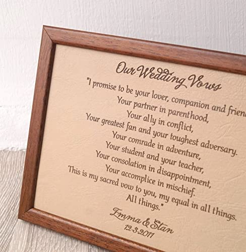 Amazon Com Leather Picture Wedding Vows Engraved On Real