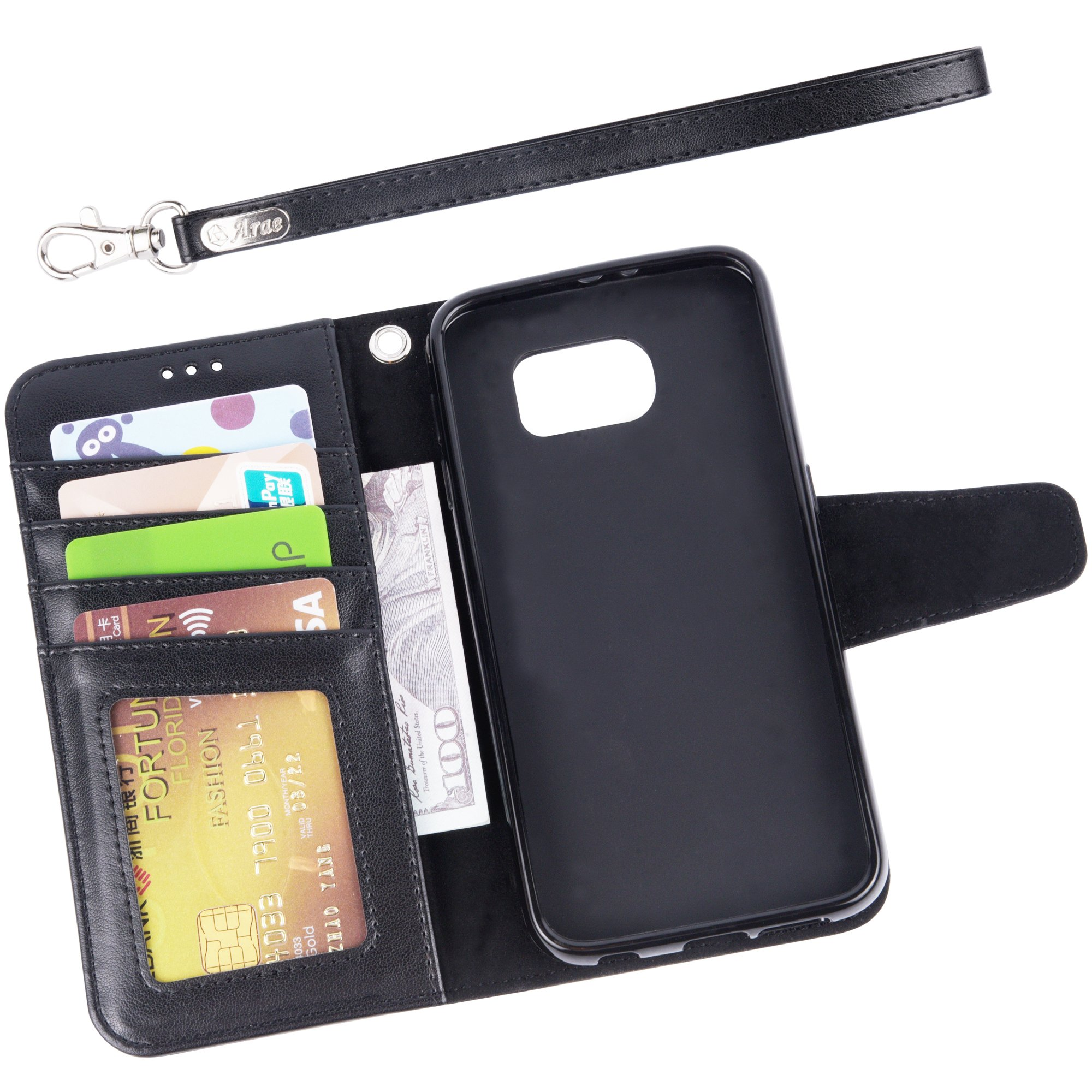 Arae Galaxy S6 Case, Samsung Galaxy S6 wallet case, [Wrist Strap] Flip Folio [Kickstand Feature] PU leather wallet case with ID&Credit Card Pockets For Samsung Galaxy S6 (Black) by Arae (Image #3)