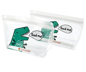 Full Circle FC17343D ZipTuck Reusable Sandwich Snack bag, Set, Dinosaur