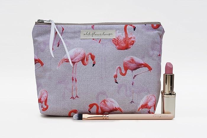 26272f6efdcf Pink Flamingo Makeup Bag, Cosmetics Bag, Make Up Storage, Cotton Make-up  Pouch, Toiletry Bag, Old Flour House