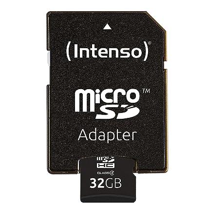 Intenso 3403480 Micro Tarjeta de memoria SD 32 GB grado 4 con SD Adaptador, Negro