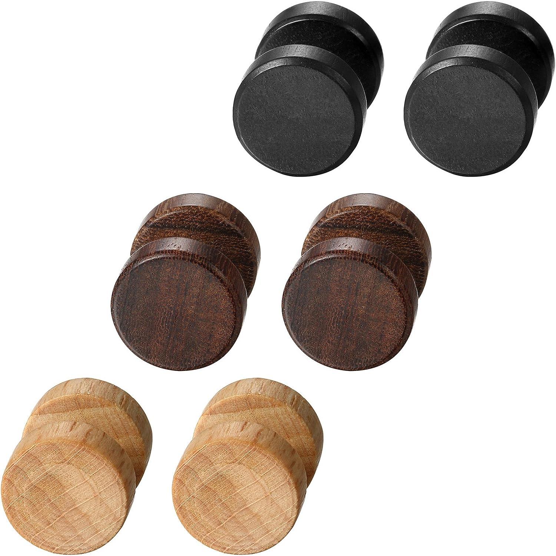 Aroncent Pendientes de Acero Inoxidable Quirúrgico y Madera para Oído Dumbbells Aretes de Perno Forma Pesas para Hombre Mujer Unisex 8-12 mm 6 Pcs
