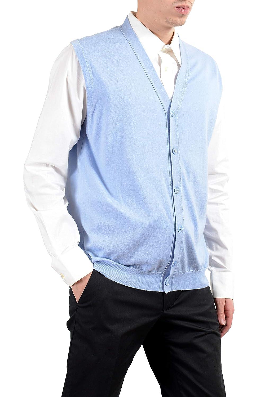 Kiton Napoli Mens Cashmere Silk Light Blue Button Up Knitted Vest Size US 2XL IT 56 KJ-14519-3-1