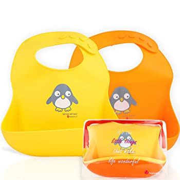 NatureBond Waterproof Silicone Baby and Toddlers Bibs (2 PCs)