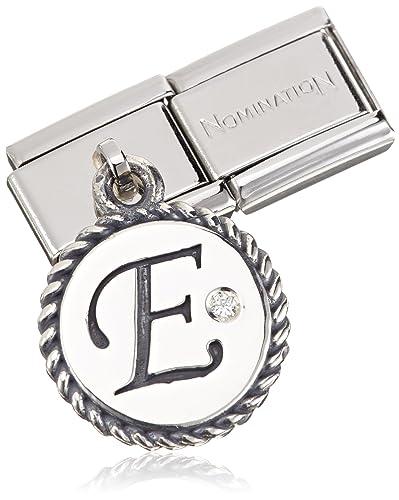 Nomination Women's Charm Letter E 925 Silver Oxidized Stainless Steel-White Zirconia - 031715/05 sgaw9tr3