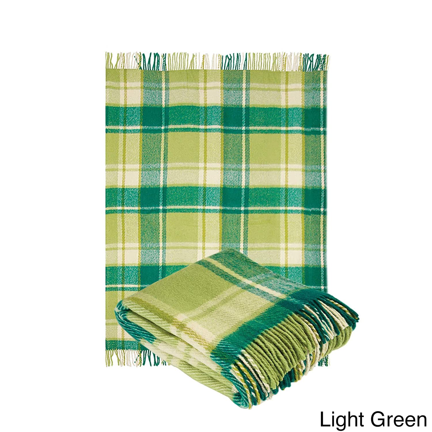 Bedding 100-percent Pure Wool Classic Tartan Design Fringed Throw Blanket for Sofa, Couch or Bed Green Full / Queen