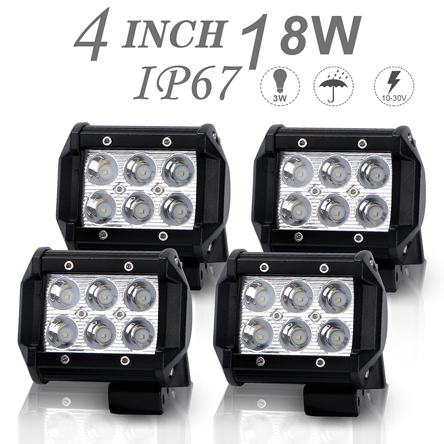 DOT Approved 4Pcs 4Inch 18W Spot LED Light Bar Offroad Pods Lights 4wd LED Driving Lamp Work Light Bulb Fog Lights Backup Reverse Lights for Truck Pickup Jeep SUV ATV UTV Tractor Boat Waterproof IP67 12V/24V Uni Filter