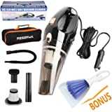 Reserwa Car Vacuum 12V 106W Wet&Dry Car Vacuum Cleaner Portable Car Handheld Vacuum 16.4FT(5M) Power Cord with 2 HEPA Filters and One Carry Bag and One Cleaning Brush(Black)
