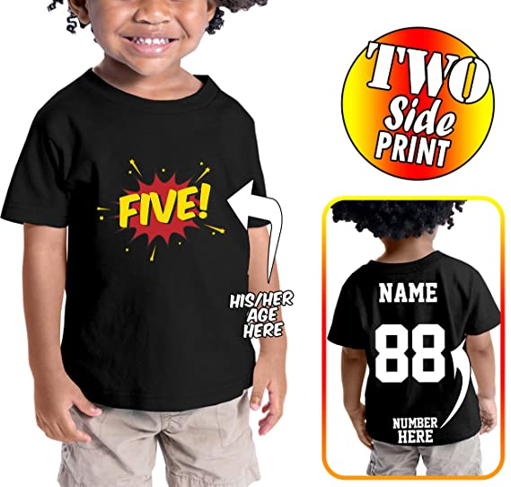Custom Cotton Add Name Number Comic Style Birthday Shirts For Toddlers And Kids Black