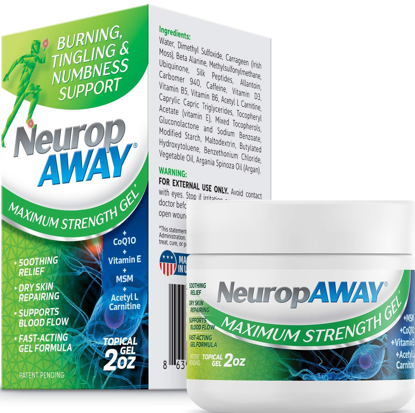 VasoCorp NeuropAWAY Neurop Pain Relief | 2 oz Maximum Strength Gel Nerve Pain Relief and neurop Pain Relief for feet, neurop Support for Burning Numbness Pain in Legs and feet Topical Gel.