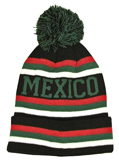 Mexico Winter Knit Hat Pom Pom Beanie Hat with Cuff (Black   Red) at Amazon  Men s Clothing store  6143f9556