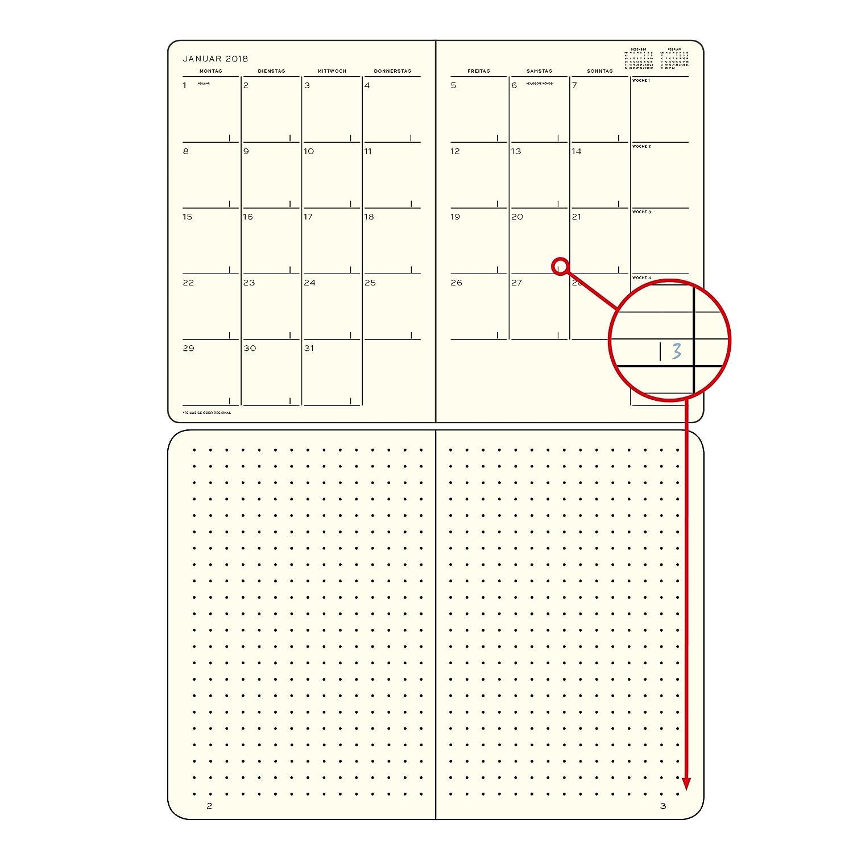 Leuchtturm1917 357781 Mes Agenda con cuaderno 2019 Soft Cover Composition (B5), 16 meses, Alemán Negro