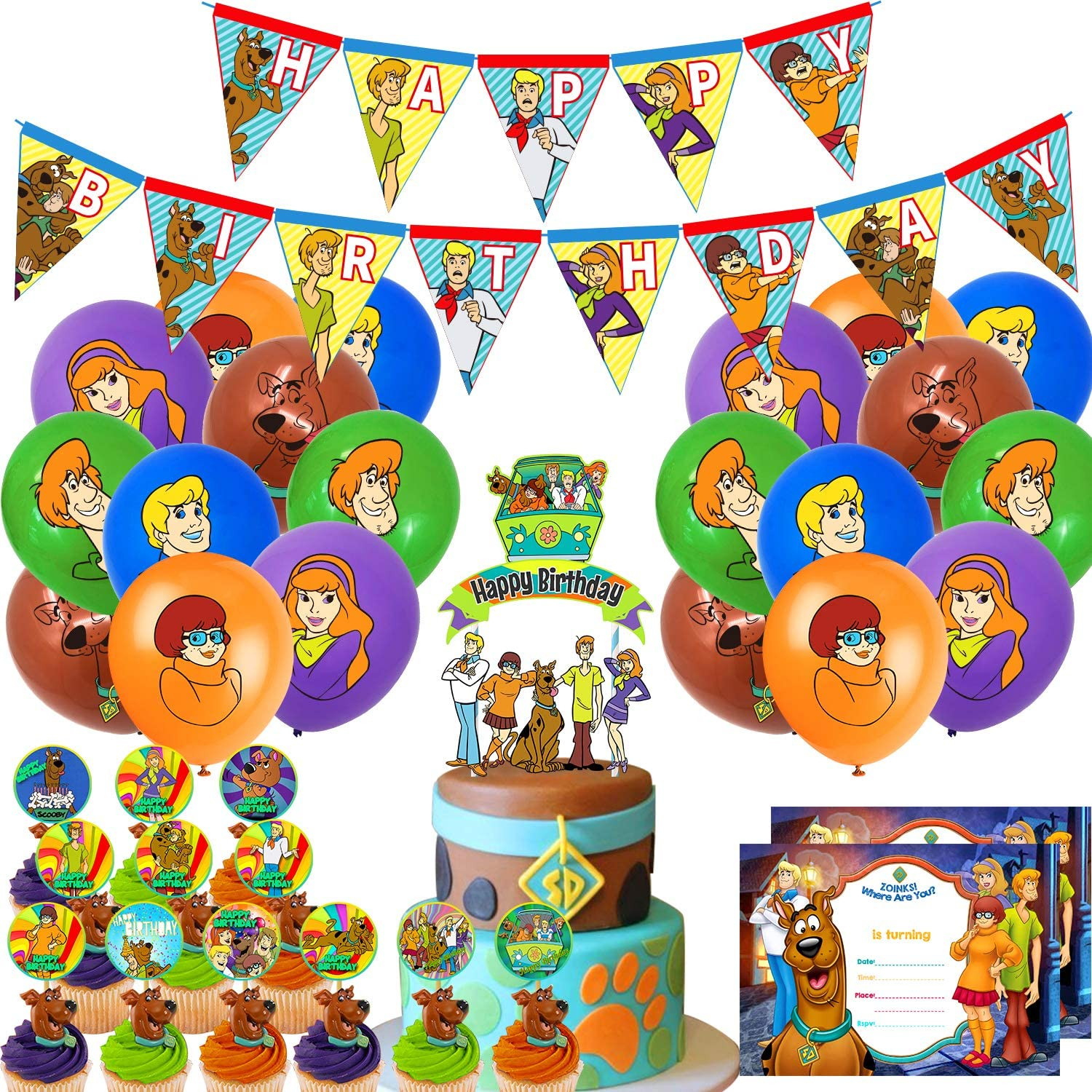 Nelton Birthday Party Supplies For Scooby Doo Includes Banner - Cake Topper - 24 Cupcake Toppers - 20 Balloons - 15 Invitation Cards