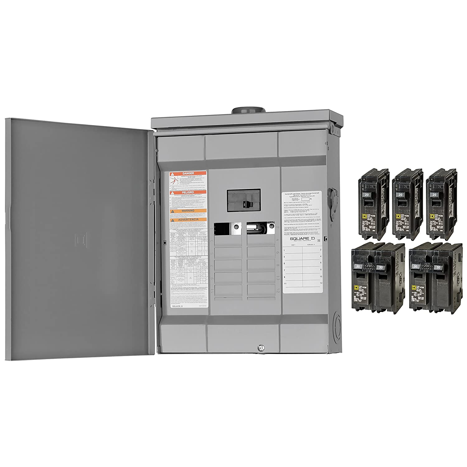 Square D By Schneider Electric Hom1224m125prbvp Homeline 125 Amp 12 Two Pole 30 Circuit Breaker Hom230cp Space 24 Outdoor Main Load Center Value Pack Plug On Neutral Ready