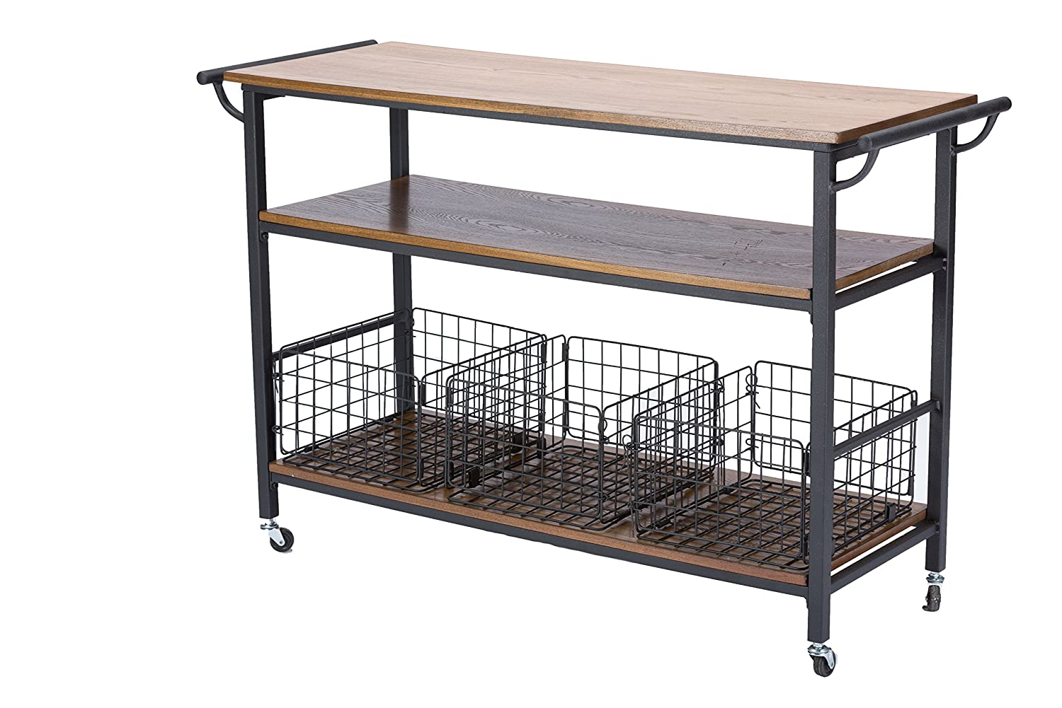 Amazon.com: Baxton Studio Lancashire Wood And Metal Kitchen Cart, Brown:  Kitchen U0026 Dining