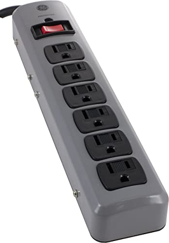 GE 14622 6-Outlet Metal Casing Surge Protector, 8-Feet Cord