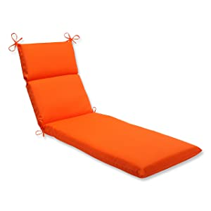 Pillow Perfect Indoor/Outdoor Sundeck Chaise Lounge Cushion, Orange