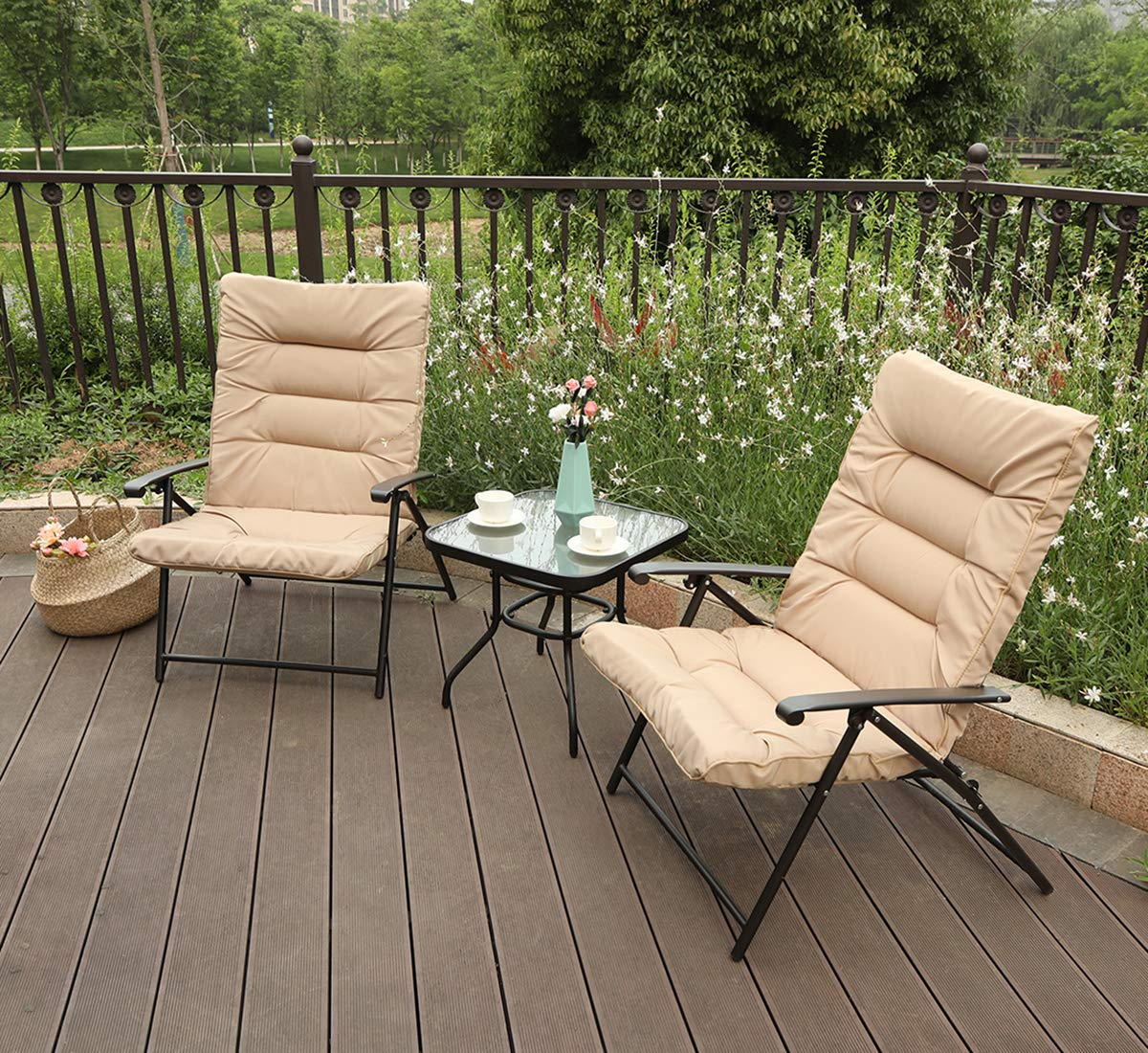 PHI VILLA Patio 3 PC Padded Folding Chair Set Adjustable Reclining 2 Position, Beige by PHI VILLA (Image #7)