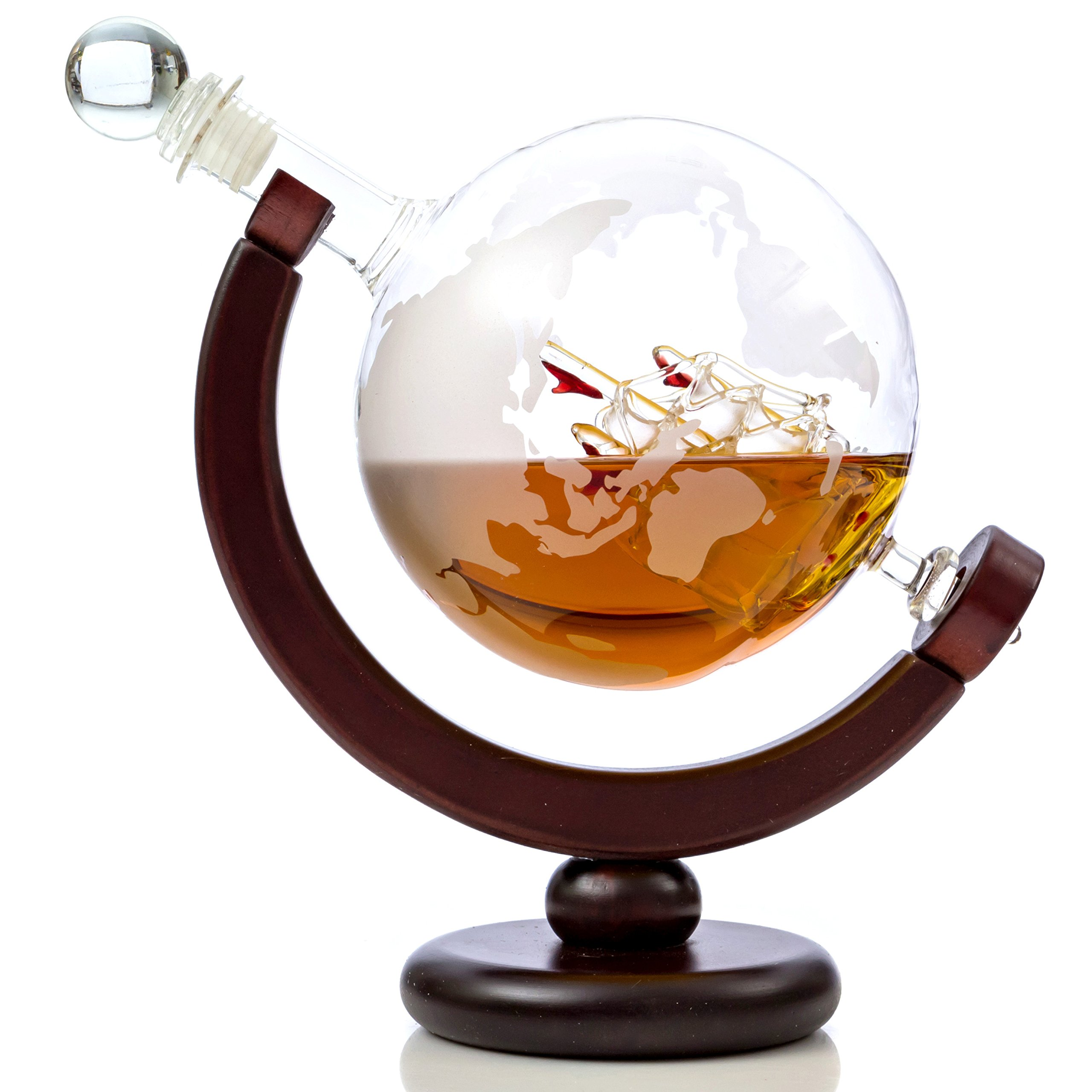 Whiskey Globe Decanter Set with Etched World Map and Antique Ship - Wooden Base and Safe Package - Perfect Gift Set for Liquor, Scotch, Bourbon, Vodka and Wine by Kemstood