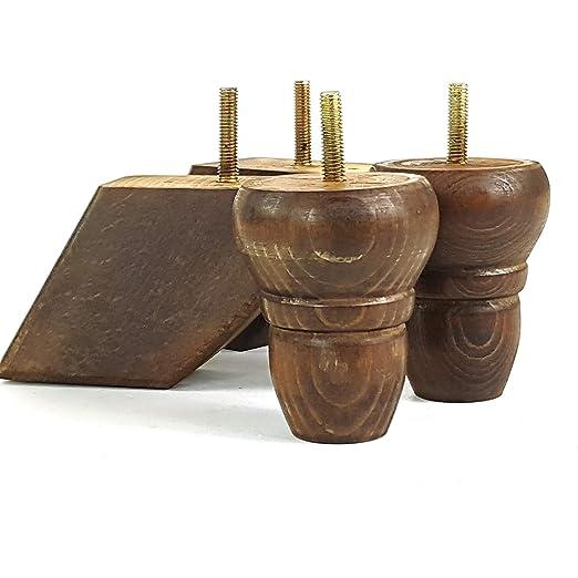 4 patas de repuesto de madera giradas para muebles, 82 mm de ...