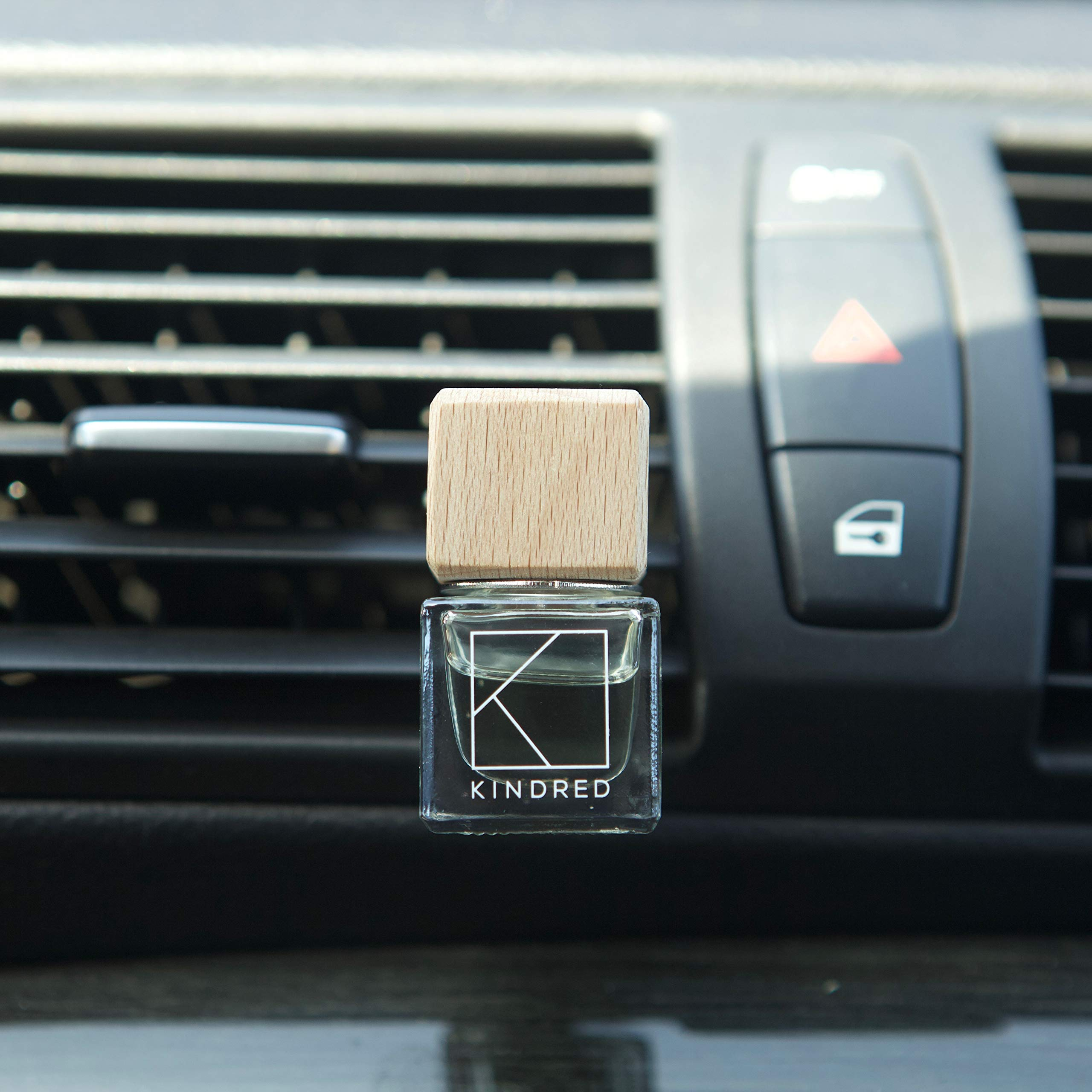 Kindred Aroma Natural Wood Car Essential Oil Diffuser + 10ml Pure Aromatherapy Lavender Essential Oil + Natural Car Air Freshener Vent Clip by Kindred Aroma