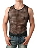 JOGAL Men's Mesh Fishnet Fitted Sleeveless Muscle