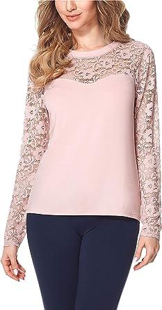 Bellivalini Blusa Camiseta Manga Larga de Encaje Mujer BLV50-133