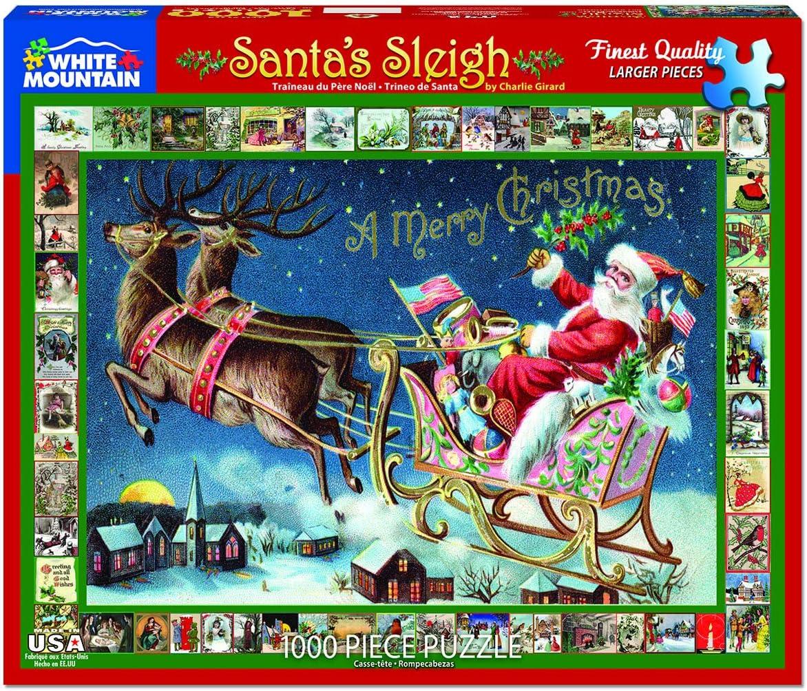 White Mountain Puzzles Santaâ€s Sleigh 1000 Pc Puzzle, 1 EA