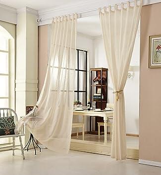 EUGAD 2er Set Gardinen Vorhänge Stores Transparent Leinen Landhaus