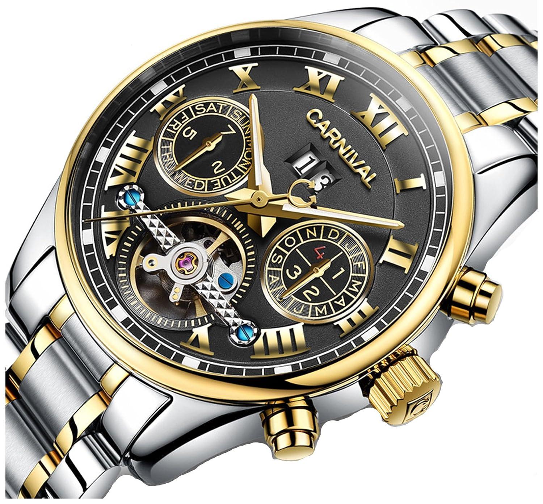 Fanmis自動機械スポーツ防水光フルスチールメンズ腕時計ブラックダイヤル B01DJCM4NQ