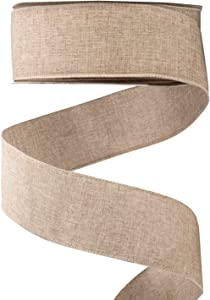 iPEGTOP Linen Wired Edge Burlap Ribbon Fabric Natural Jute, 2-1/2 Inch X 50 Yards, for Arts & Crafts Homemade DIY Projects, Event Christmas Decorations