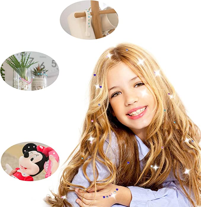Hair Sparkle Toy Kit Playhouse per bambini Acconciatura affascinante giocattolo per ragazze regalo Hair Bedazzler Kit for Kids Hair Styling Tools Set with Charm Modeling Tool /& Gemstone