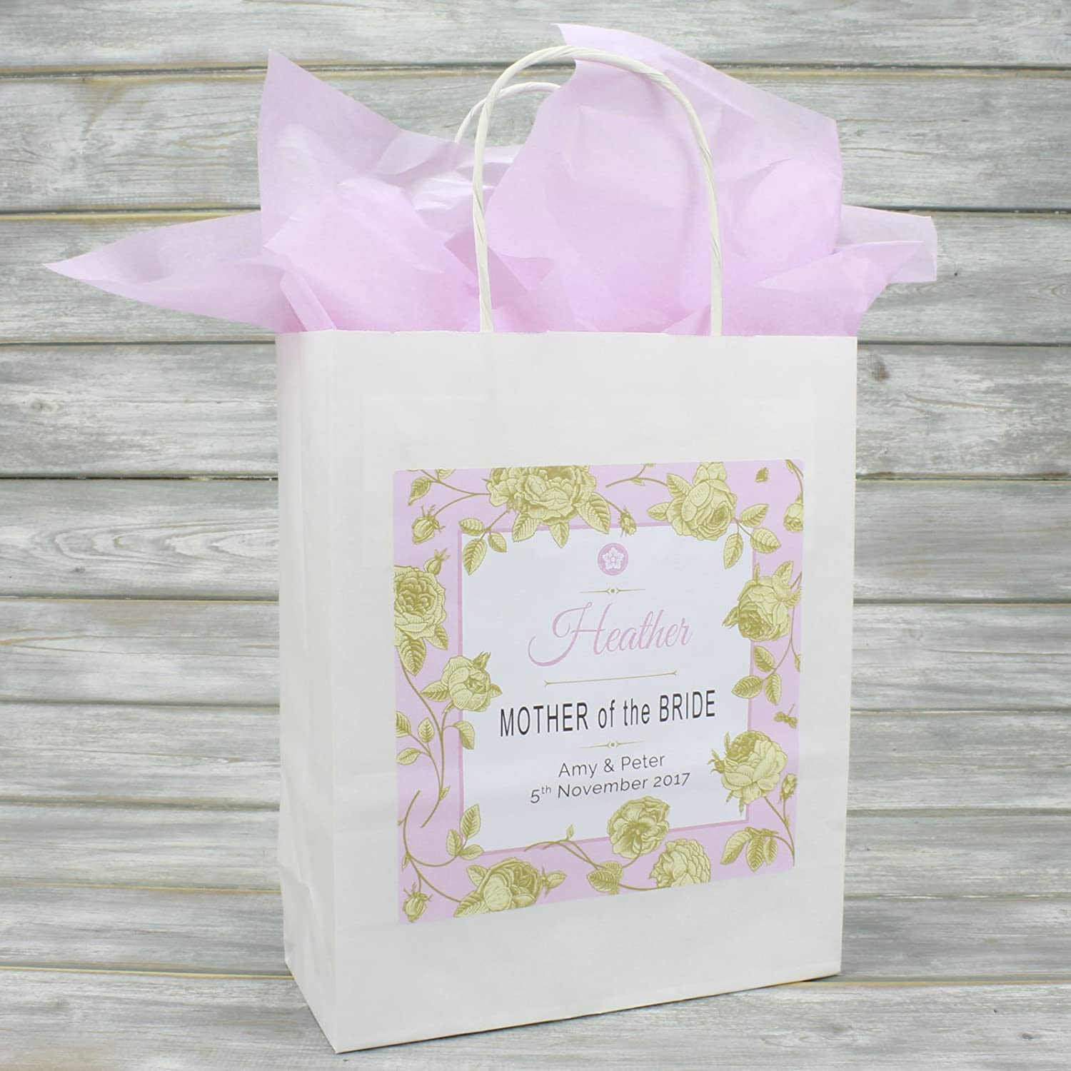 Personalised Wedding Favour Gift Bag | Matching Tissue Paper | Gold ...