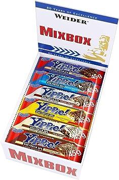 Weider Yippie Bar. Barrita de Proteína 36%. Bajo contenido en Carbohidratos y Azúcares. Sabores variados (12x45 g)