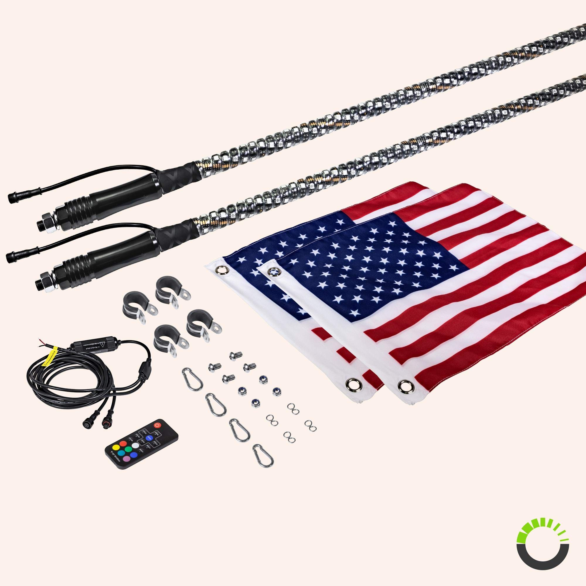 2pc 4ft Spiral LED Whip Lights w/Flag [21 Modes] [20 Colors] [Wireless Remote] [Weatherproof] Lighted Antenna Whips - Accessories for ATV Polaris RZR 4 Wheeler by ONLINE LED STORE (Image #7)