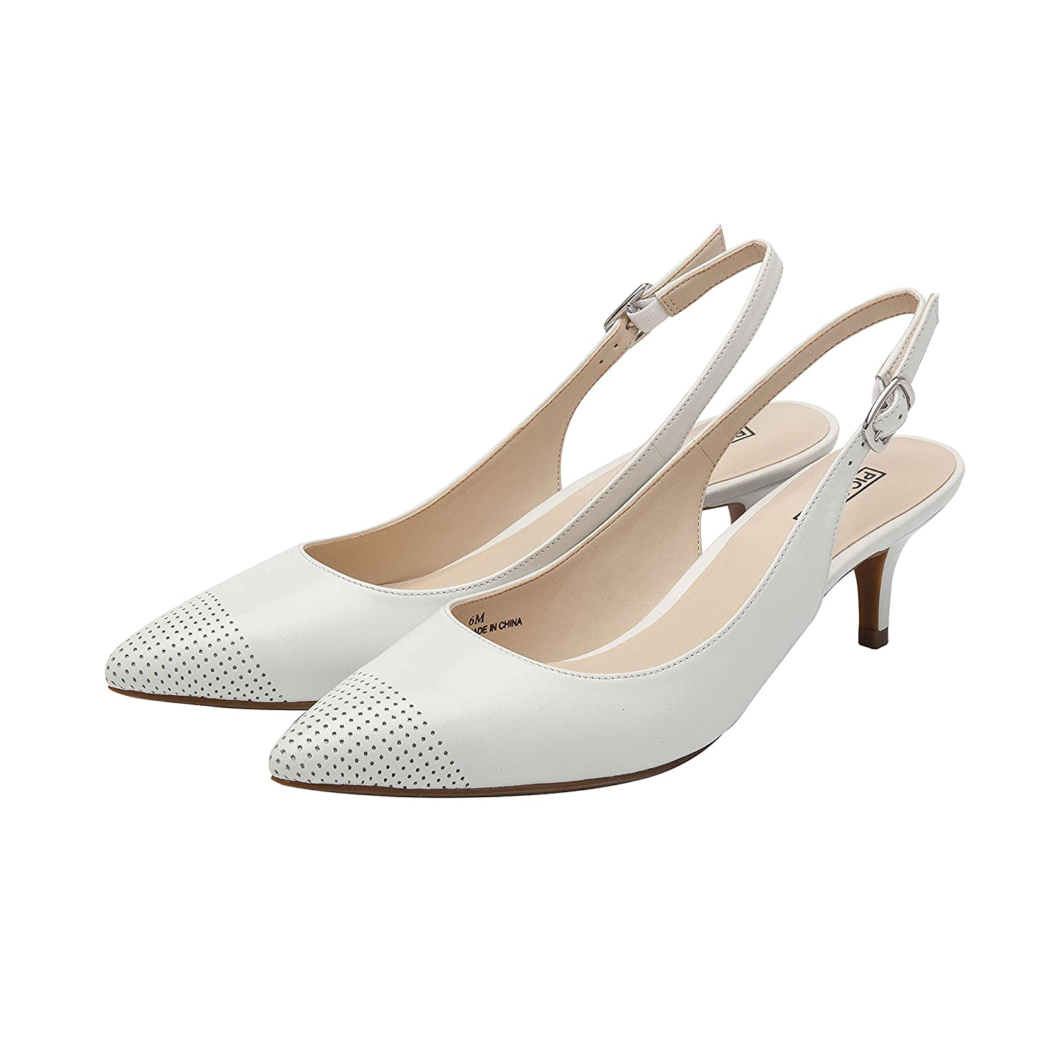 Hazel Perforated | Women's Low Heel Perforated Hazel Cap Toe Comfortable Slingback Pump B07B6B8VFY 8 B(M) US|White Leather 4e4958