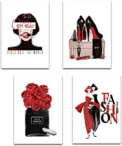 FCOZM Fashion Canvas Wall Art Black and Red Girls Bedroom Wall Decor Perfume Red Rose Art Pictures High Heels Lipsticks Red Lips Posters Unframed Art Prints Inspirational Woman Room Decor 8x12 (Red)