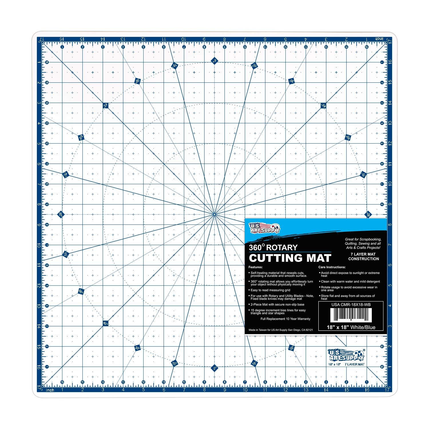 U.S. Art Supply 18'' x 18'' Rotary WHITE/BLUE High Contrast Professional Self Healing 7-Layer Durable Non-Slip PVC Cutting Mat Great for Scrapbooking, Quilting, Sewing and all Arts & Crafts Projects