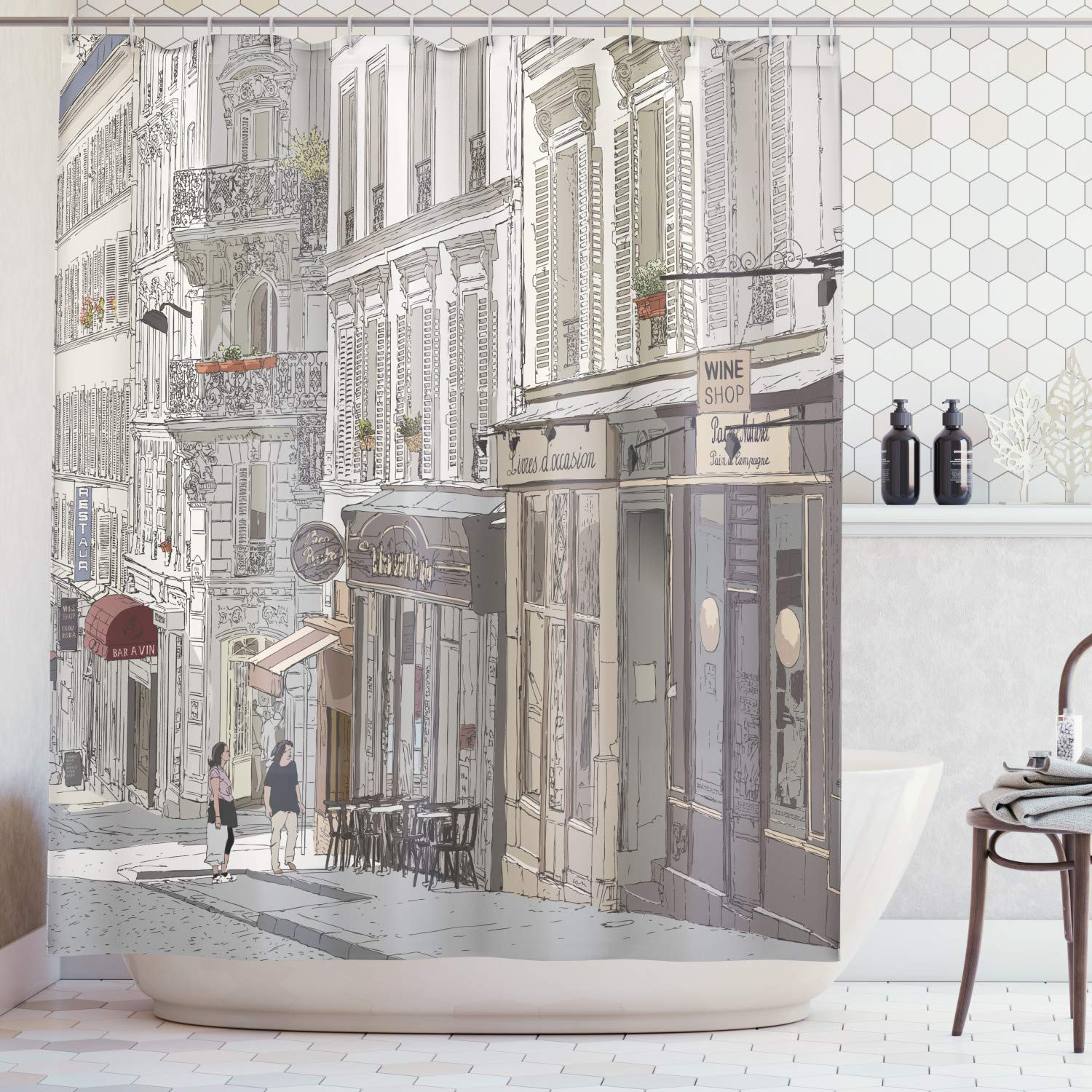 Ambesonne Paris City Decor Collection, Montmartre Paris Characteristics Honeymoon Traveling Tourists Illustration Art, Polyester Fabric Bathroom Shower Curtain, 84 Inches Extra Long, Grey Ivory