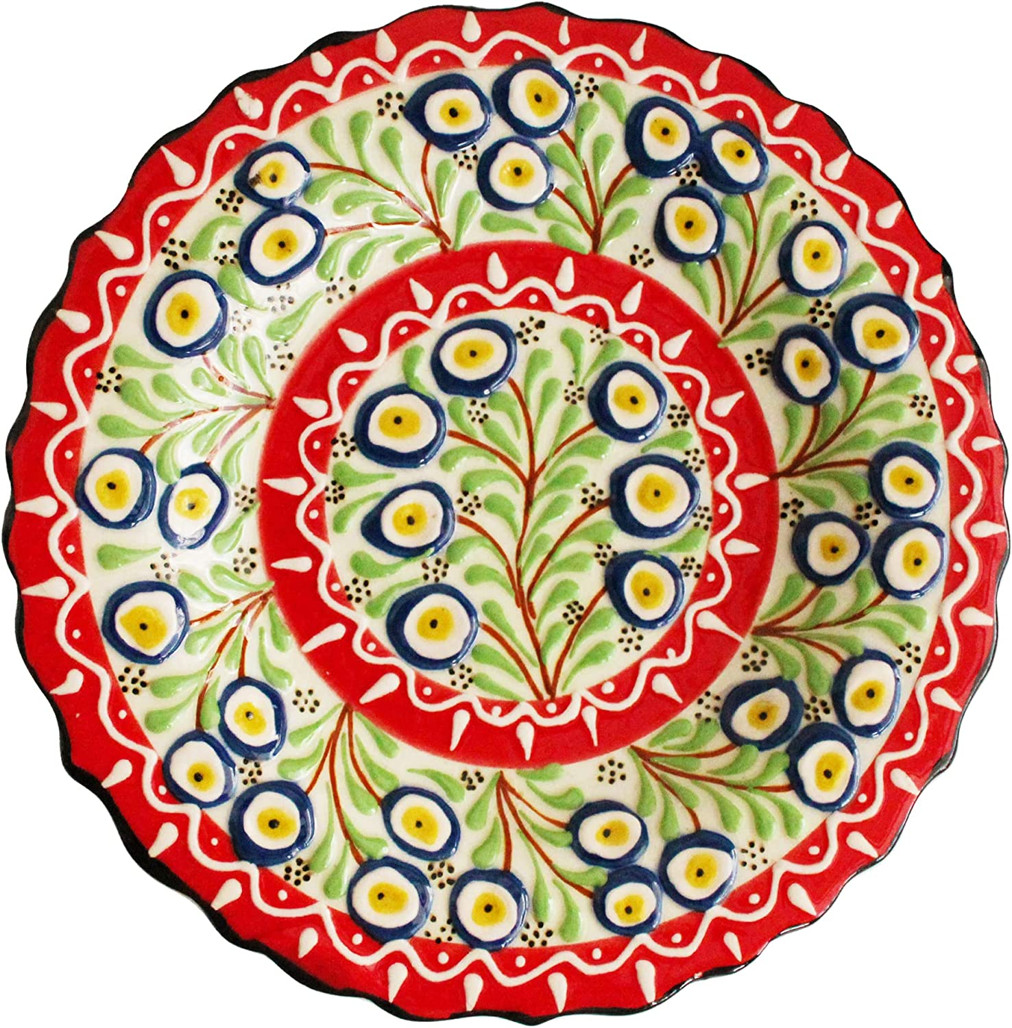 Turkish Traditional Handmade Decorative Plate - 7.08'' (18cm) - Multi Colorful Ceramic Ornament for Your Home & Offfice & Kitchen - Tree in Blue Evil Eyes Design - Mixed Multicolored