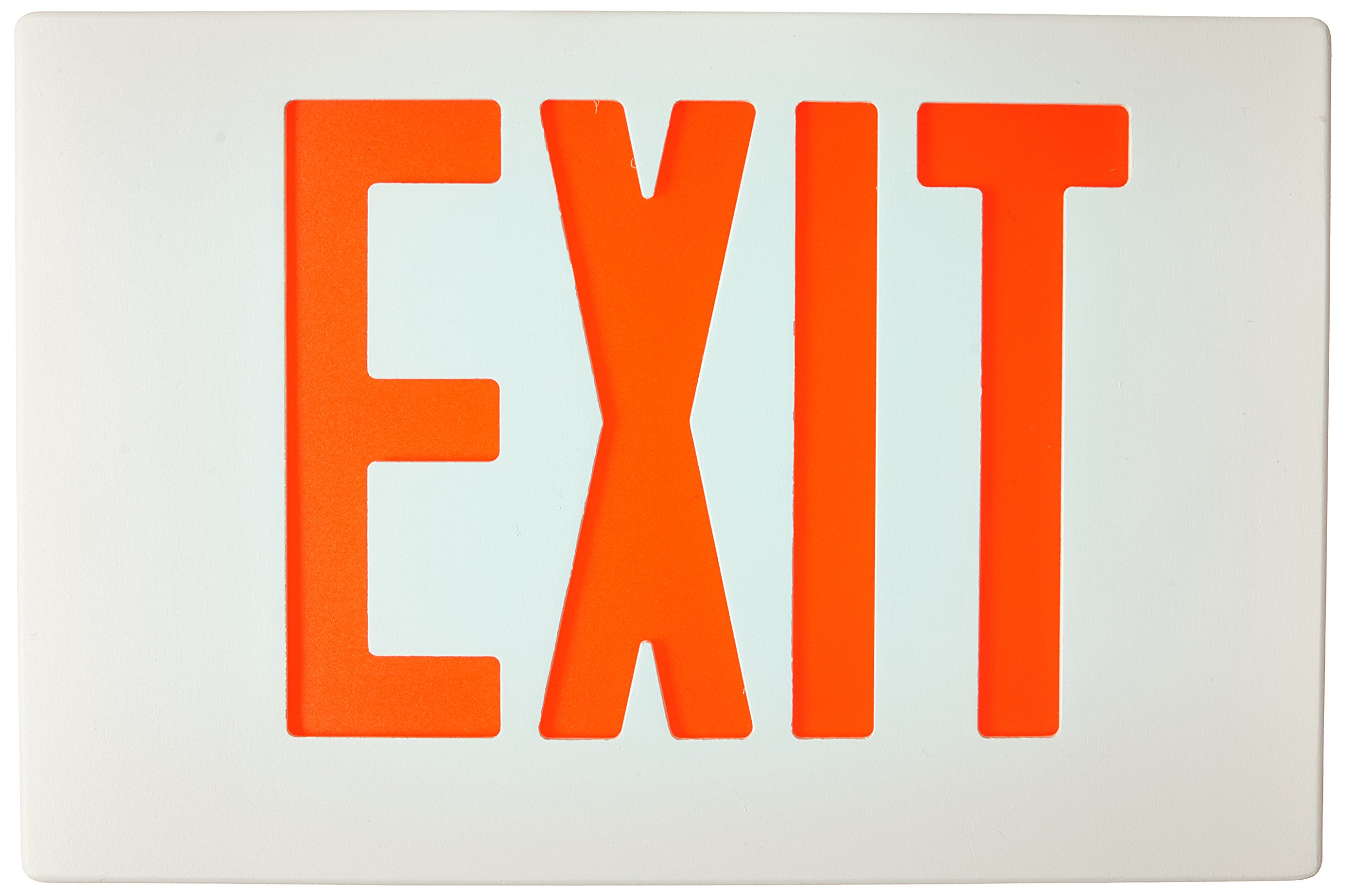 Morris Products 73382 Cast Aluminum LED Exit Sign Face Plate, Red Letter Color, White Face Color, Used with Model 73348