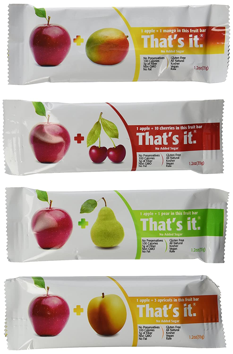 That's It Natural Fruit Bars Variety Pack, Apple+Mango, Apple+Pear, Apple+Cherry & Apple+Apricot, 12 Pack