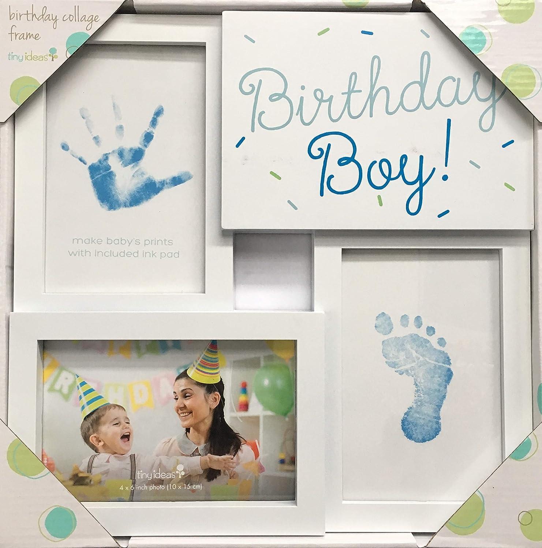 赤ちゃんの手と足跡、ホワイト/ブルーのための含まれたInkpadとの小さい考え誕生日ボーイコラージュフレームの記念品   B07KPP7HJ9