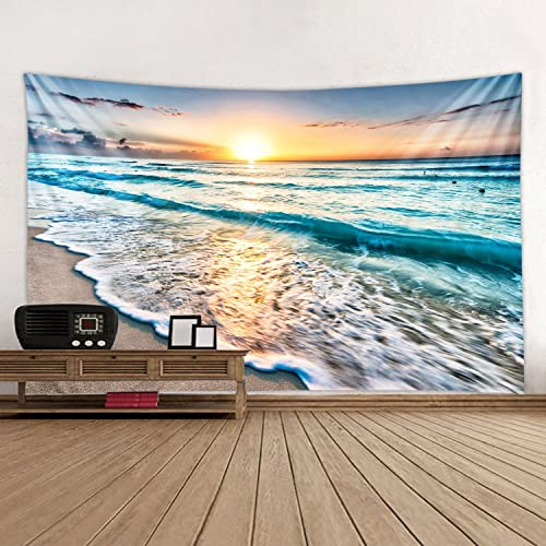 Sea Water Dusk Beach Sunset Print Decorative Throw Fabric Tapestry Wall Hanging Art Decor for Living Room and Bedroom 91 x 71 Inches