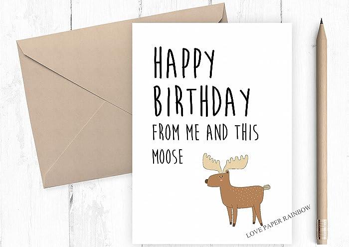 moose birthday card funny birthday card animal birthday card kids birthday card - Funny Birthday Cards For Kids
